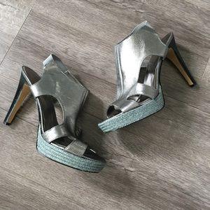 Nine West Silver Platform Heel Sandals